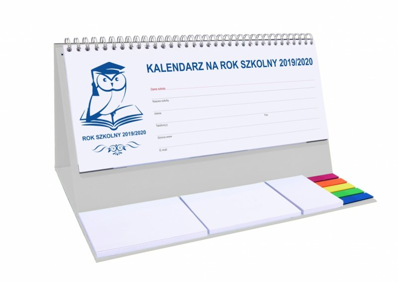 Kalendarz biurkowy EXCLUSIVE PLUS na rok szkolny 2019/2020 - szary