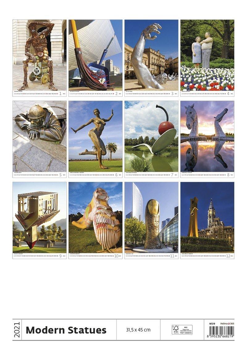 Kalendarz ścienny wieloplanszowy Modern Statues 2021 - tylna okładka