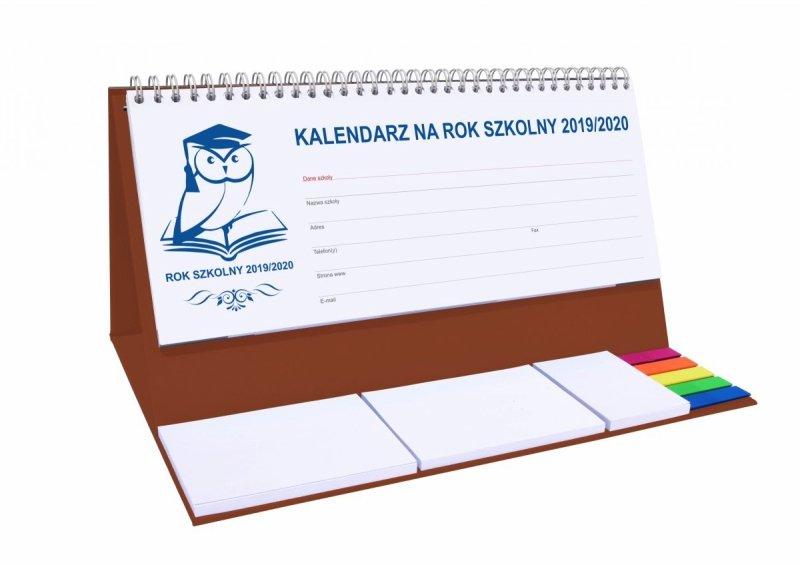 Kalendarz biurkowy EXCLUSIVE PLUS na rok szkolny 2019/2020 - brązowy