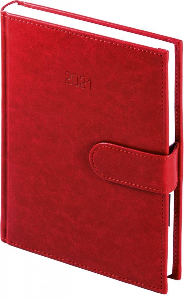 Kalendarz książkowy 2021 B5 dzienny oprawa MAGNESIAN - czerwony oprawa skóropodobna zamykana na magnes