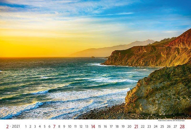 Kalendarz ścienny wieloplanszowy Sea 2021 - luty 2021