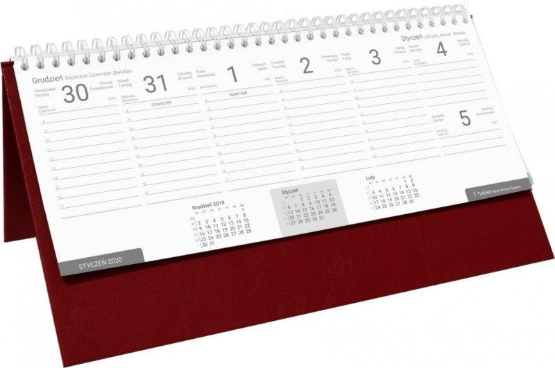 Kalendarz biurkowy stojąco-leżący BUSINESS LINE oprawa Agora kolor bordowy