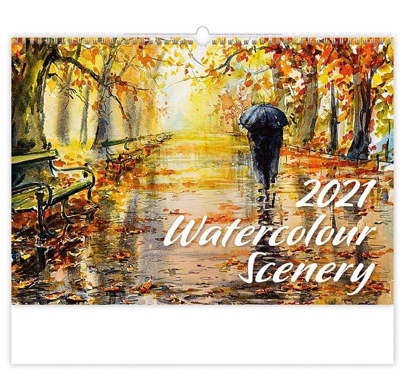 Kalendarz ścienny wieloplanszowy Watercolour Scenery 2021 - okładka