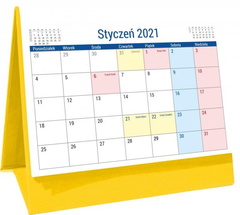 Kalendarz biurkowy stojący na podstawce PLANO 2021 żółty