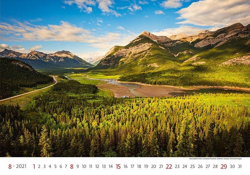 Kalendarz ścienny wieloplanszowy Landscapes 2021 - sierpień 2021