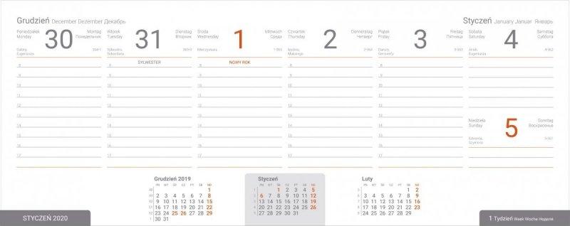 Kalendarz biurkowy EXCLUSIVE PLUS na rok szkolny 2019/2020 - przykładowa strona kalendarium