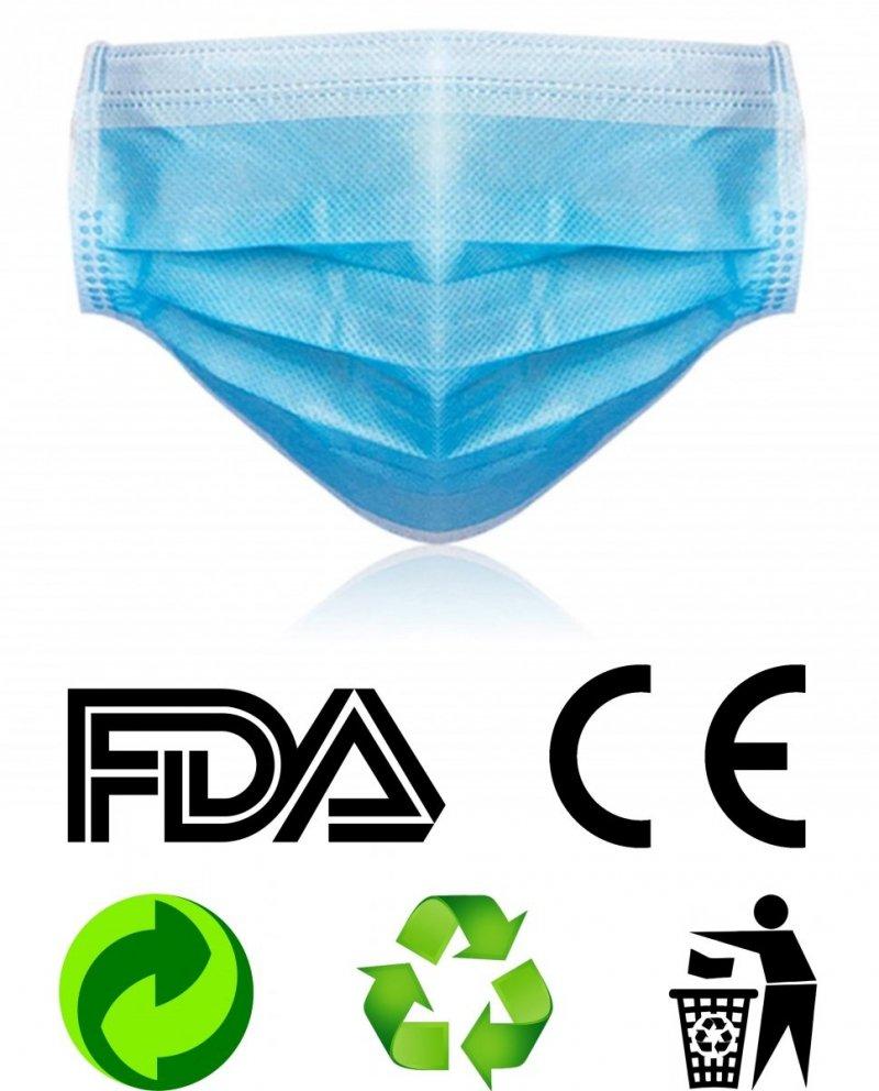 Maseczka ochronna 3-warstwowa jednorazowa FDA CE recyclable ekologiczne