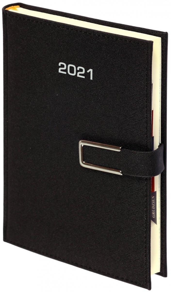 Kalendarz książkowy 2021 B5 dzienny ROSSA CHROMO czarna - oprawa zamykana na magnes