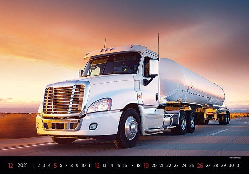 Kalendarz ścienny wieloplanszowy Trucks 2021 - grudzień 2021