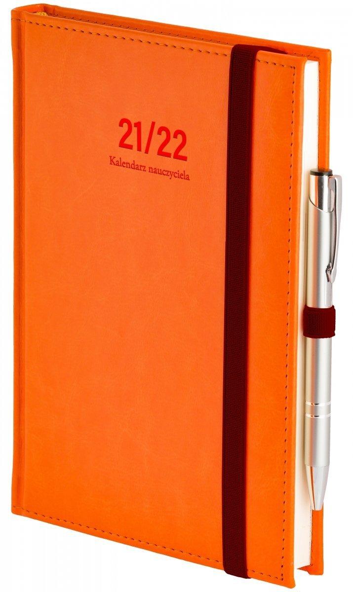 Oprawa kalendarza dla nauczyciela Nebraska z zamykaniem na gumkę i mocowaniem na długopis w kolorze pomarańczowym