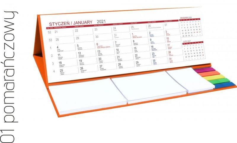Kalendarz biurkowy z notesami i znacznikami MAXI 2021 pomarańczowy