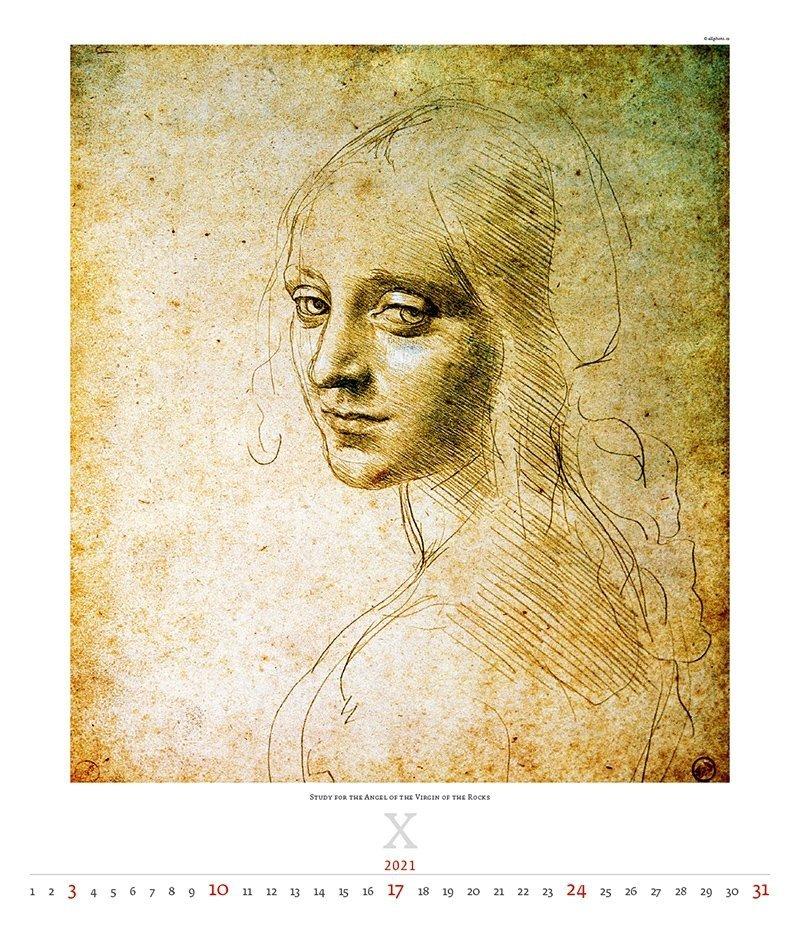 Kalendarz ścienny wieloplanszowy Leonardo da Vinci 2021 - exclusive edition  - październik 2021