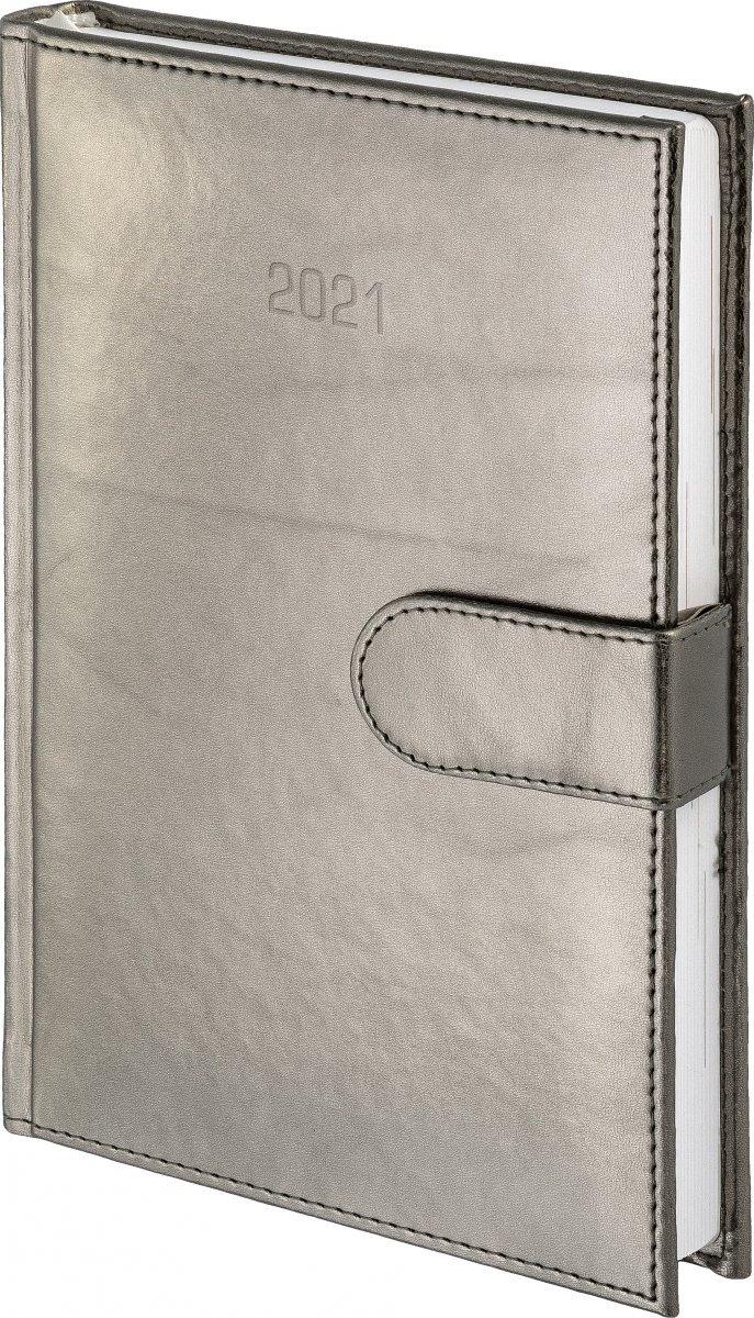 Kalendarz książkowy 2021 A4 tygodniowy papier biały drukowane registry oprawa MAGNESIAN - srebrny oprawa skóropodobna zamykana na magnes