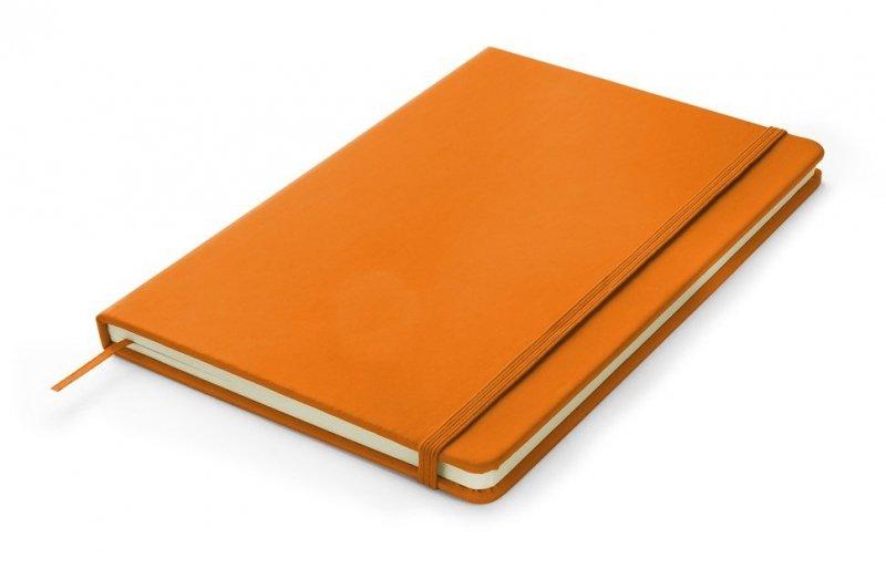 Notes A5 zamykany na gumkę - papier chamois w linie oprawa EKOSKÓRA VERONA pomarańczowa (gumka pomarańczowa)