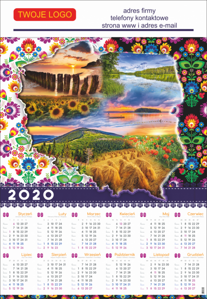 Nadruk reklamowy na kalendarzu plakatowym - projekt nadruku gratis