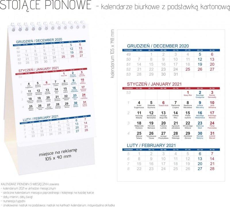 Kalendarz biurkowy stojący PIONOWY 3-MIESIĘCZNY - możliwość wykonania nadruku