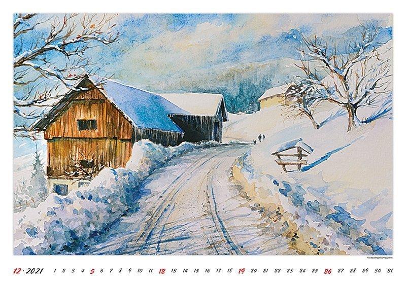 Kalendarz ścienny wieloplanszowy Watercolour Scenery 2021 - grudzień 2021