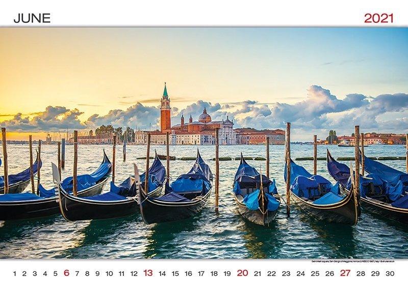 Kalendarz ścienny wieloplanszowy World Wonders 2021 - czerwiec 2021