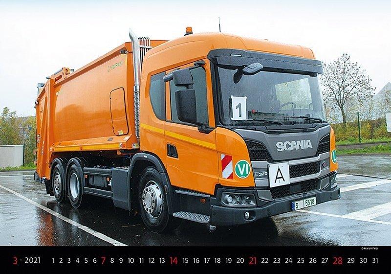 Kalendarz ścienny wieloplanszowy Trucks 2021 - marzec 2021