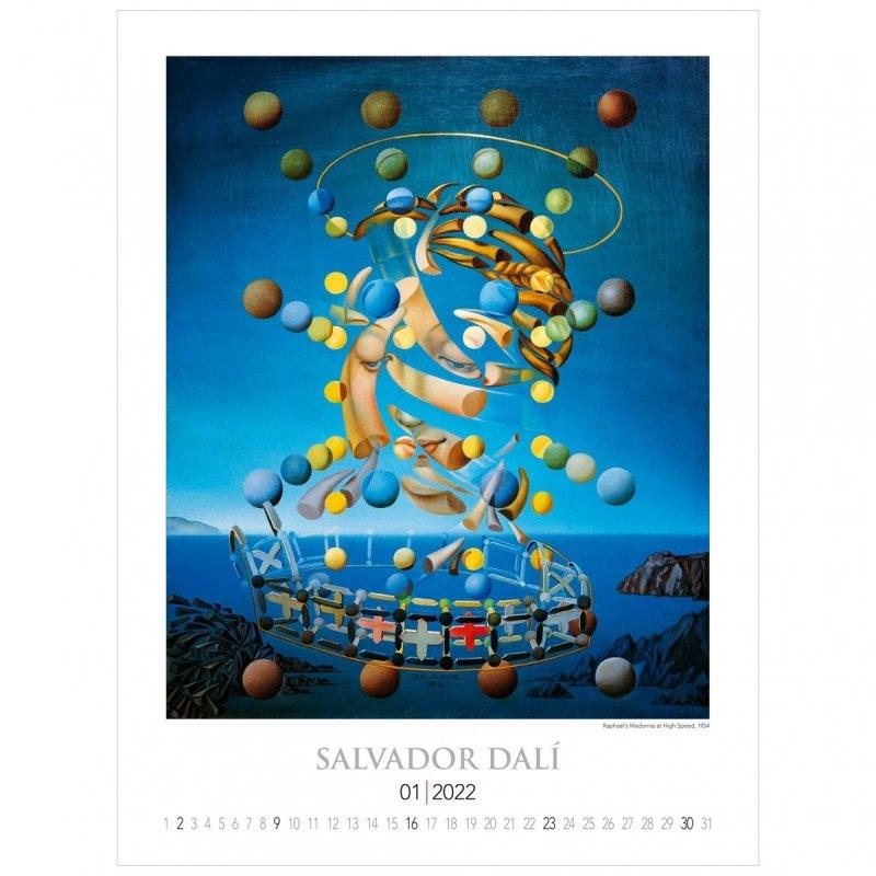 Kalendarza ścienny wieloplanszowy z reprodukcjami obrazów Salvadora Dali - styczeń 2022
