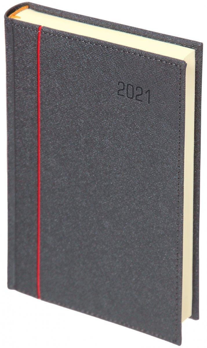 Kalendarz książkowy 2021 B5 dzienny oprawa HAGA - oprawa przeszywana - kolor srebrny