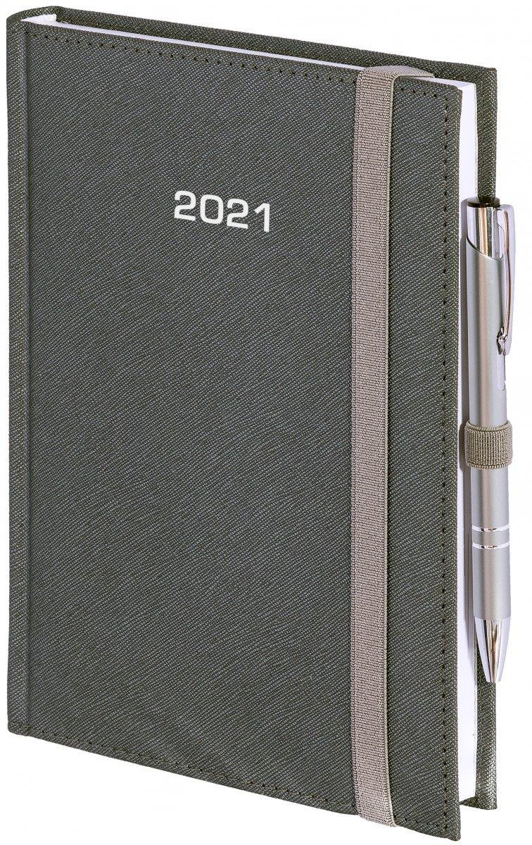 Kalendarz książkowy 2021 A4 dzienny oprawa ROSSA zamykana na gumkę srebrna