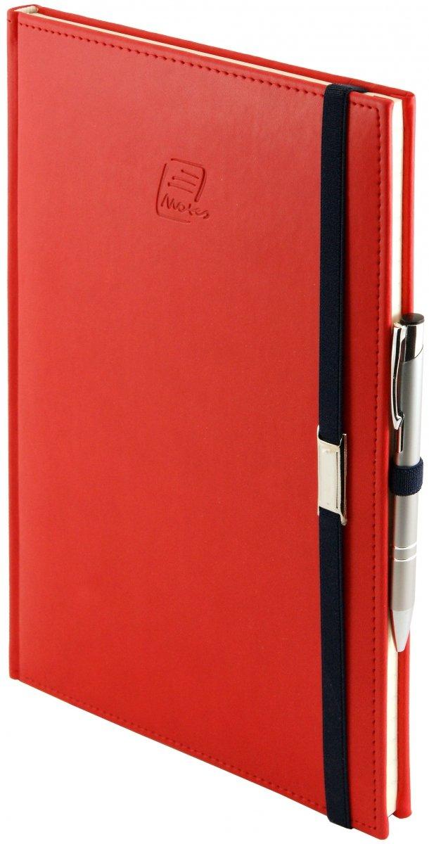 Notes A4 z długopisem zamykany na gumkę z blaszką  oprawa Vivella czerwona - okładka