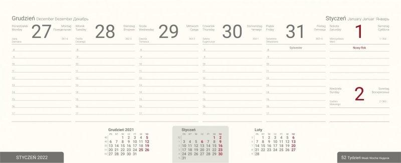 Kalendarz biurkowy tygodniowy na rok szkolny 2021/2022 PREMIUM niebieski