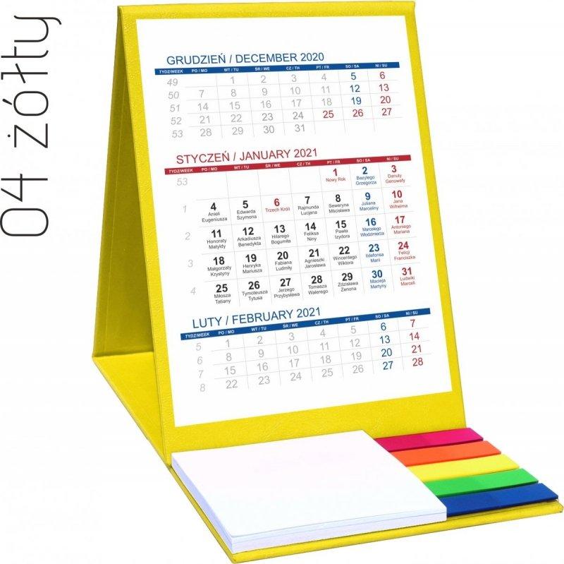 Kalendarz biurkowy z notesem i znacznikami TOP 3-miesięczny 2021 żółty