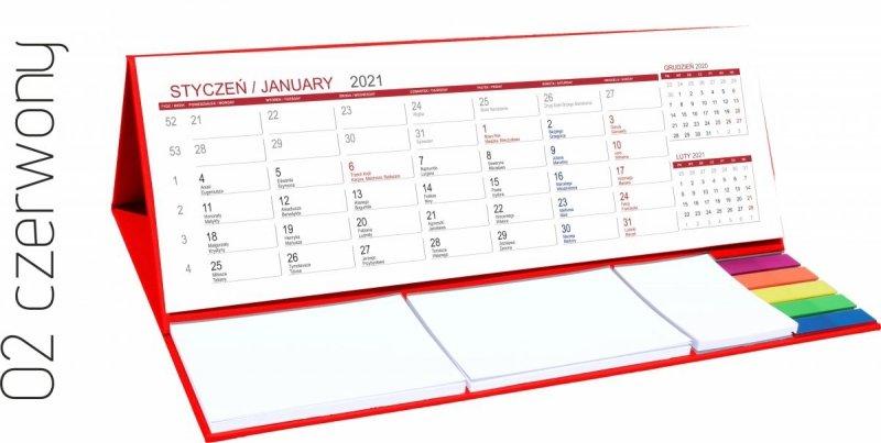 Kalendarz biurkowy z notesami i znacznikami MAXI 2021 czerwony