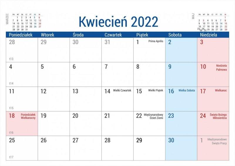 Kalendarz na biurko stojący PLANO na rok 2022 - kwiecień
