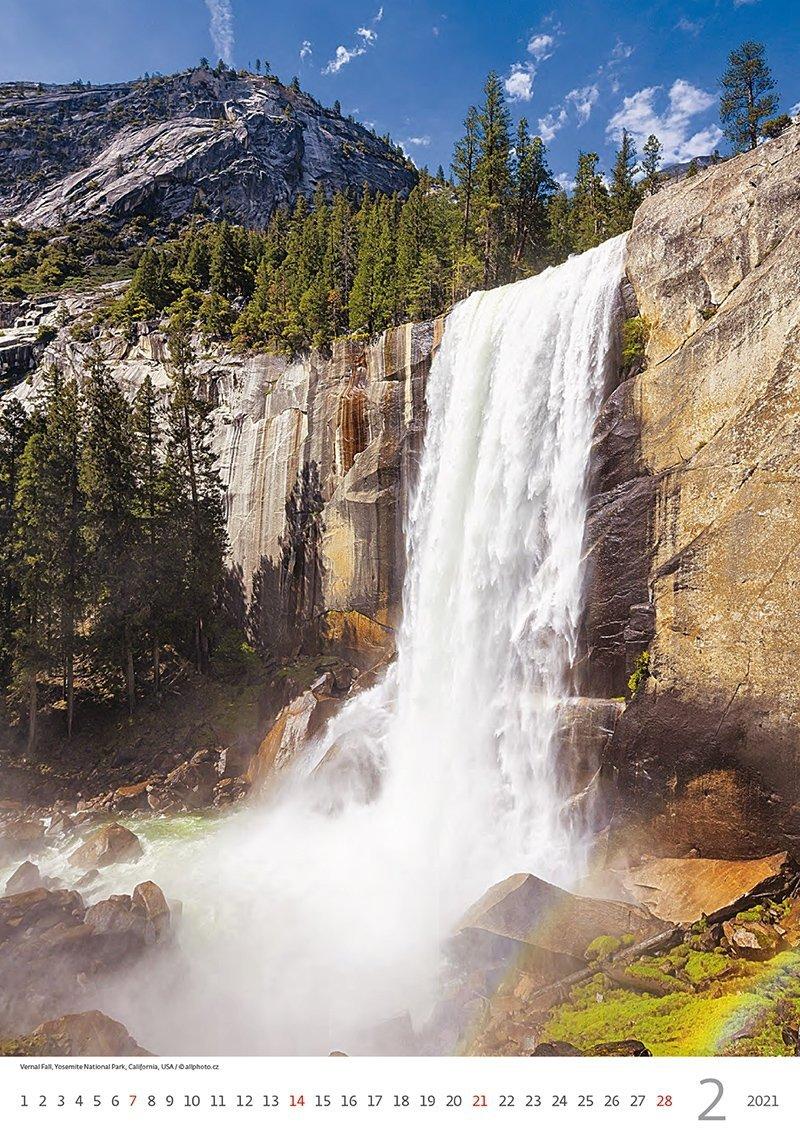 Kalendarz ścienny wieloplanszowy Waterfalls 2021 - luty 2021