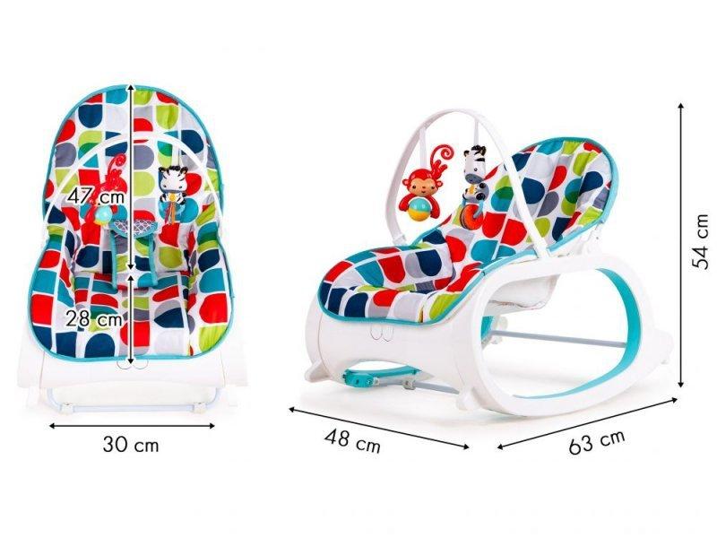 Fotelik bujaczek 3w1 wibracje + dwie zabawki ECOTOYS
