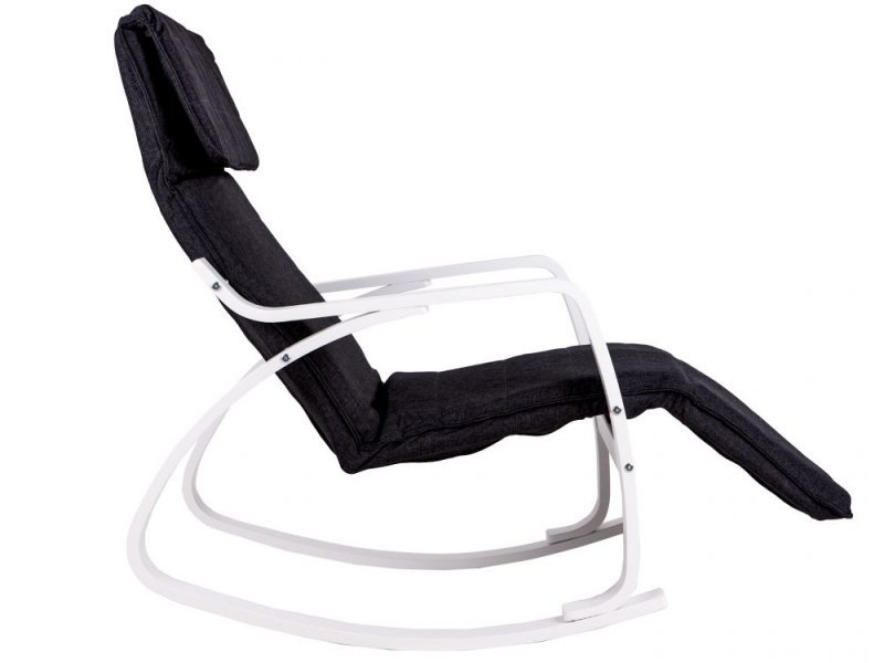 Fotel bujany regulowany podnóżek biało czarny