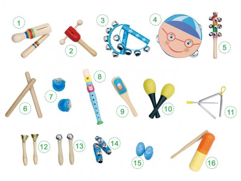 Zestaw muzyczny 16 instrumentów + torba Ecotoys