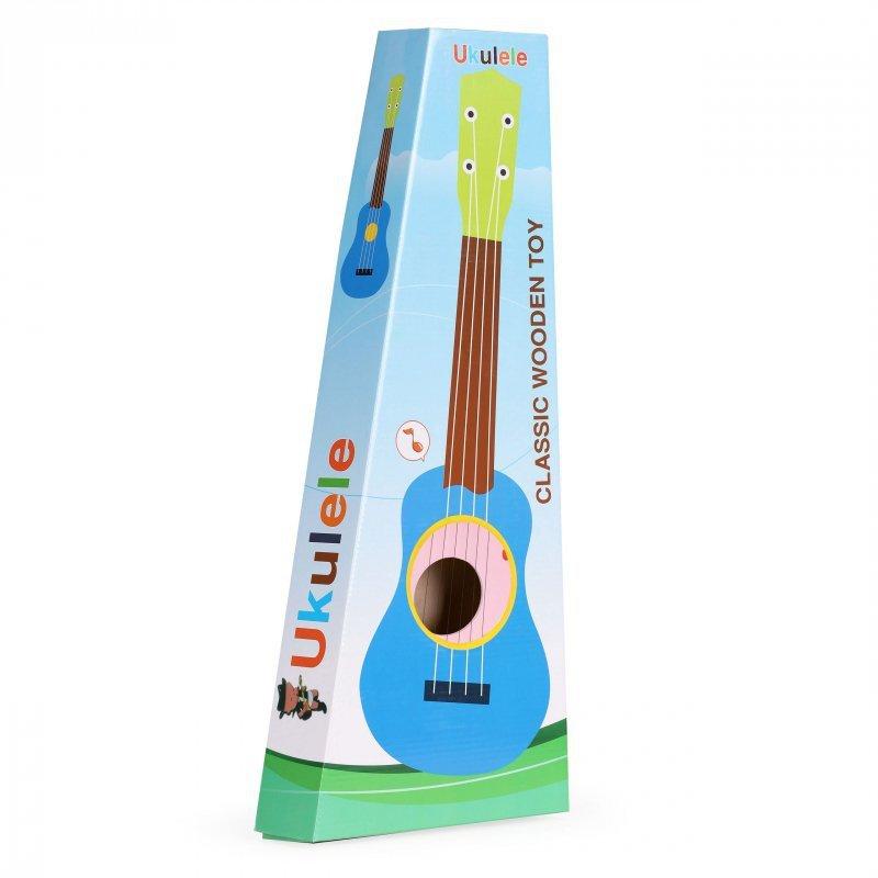Gitara dla dzieci drewniana metalowe struny kostka- różowa