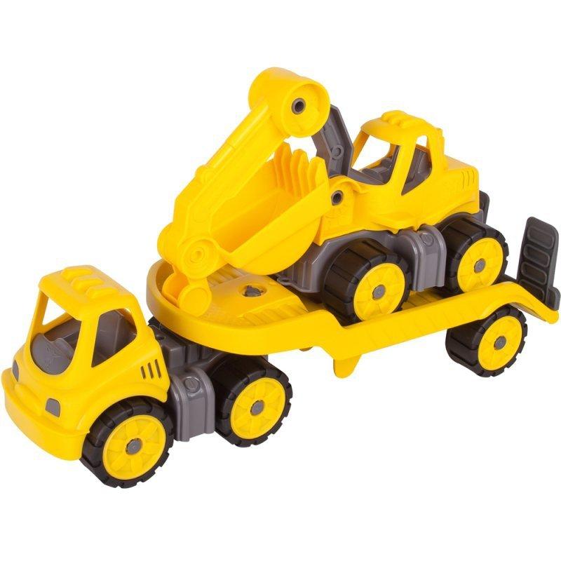 BIG Samochód Laweta Power Worker + Koparka