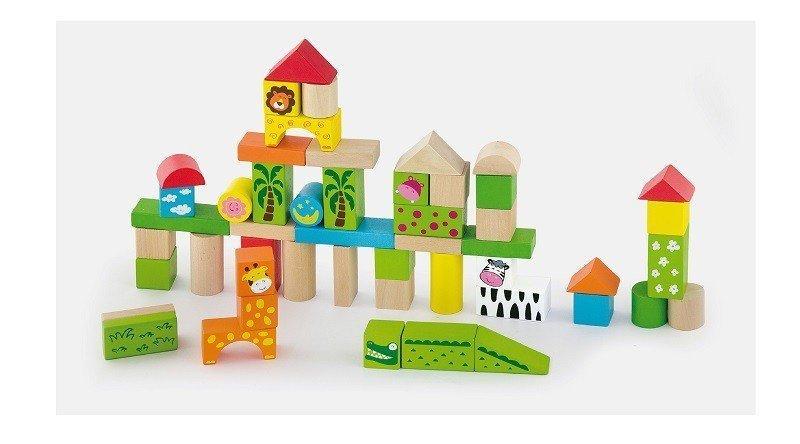 Klocki drewniane 50 elementów - zoo