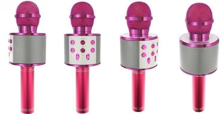 Mikrofon dla dzieci karaoke z głośnikiem różowy 23x7,5