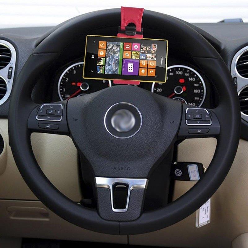 Samochodowy uchwyt na kierownicę czarno-różowy