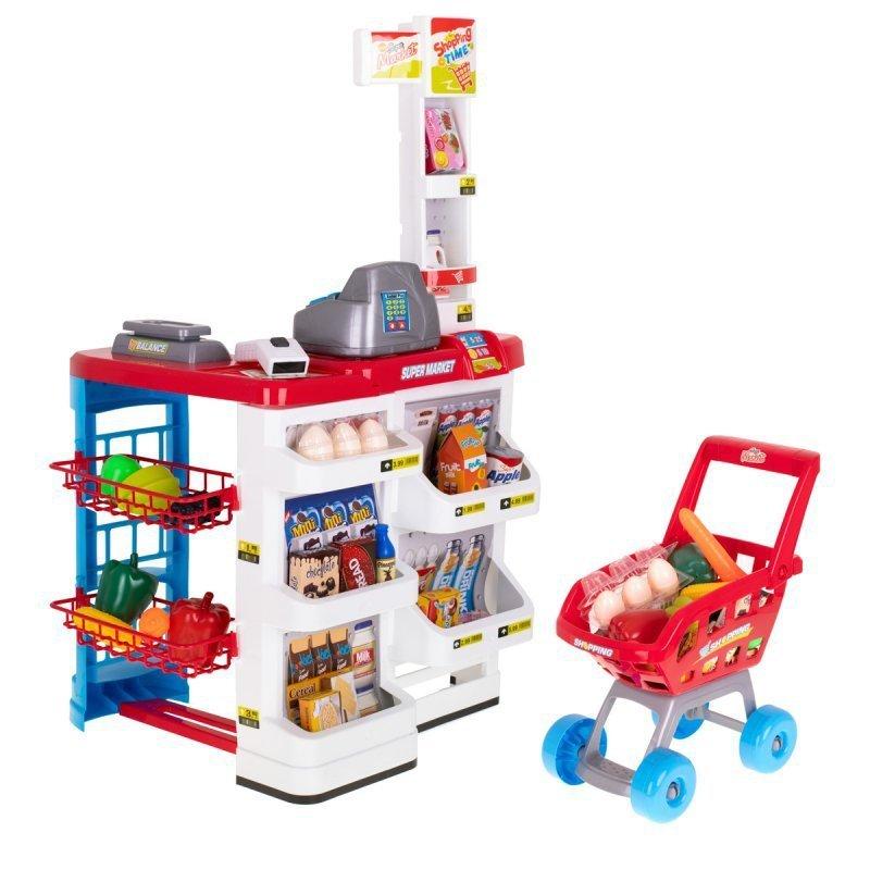 Super Market Kasa fiskalna sklep wózek + akcesoria