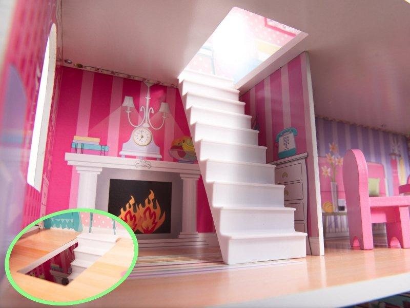 Domek-drewniany-dla-lalek-Różowa-Willa-70cm-LED-9