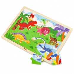 VIGA Drewniane Puzzle Dinozaury 24 Elementy