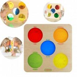 Kolorowe Szkiełka Drewniana Tablica Sensoryczna Masterkidz