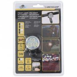 Przednie światło rwerowe 3 LED SMD DUNLOP z ładowaniem USB