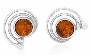 CERCHI DI LUNA,  Piercing d'argento con ambra