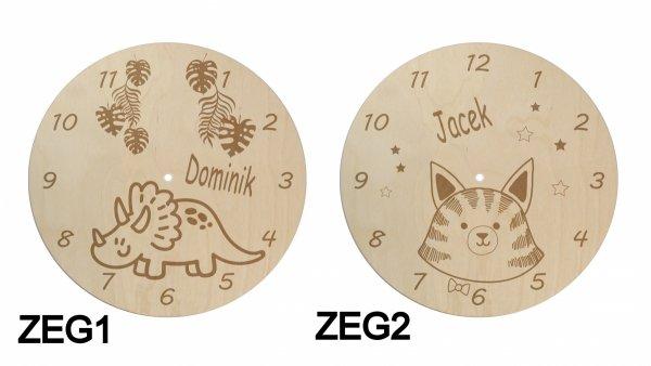 Dziecięcy drewniany zegar z imieniem dziecka WZORY