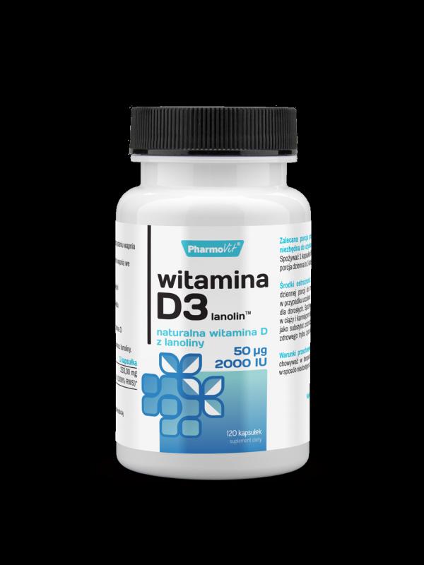 Witamina D3 lanolin 50µg 2000IU Naturalna witamina D z lanoliny 120 kapsułek PharmoVit