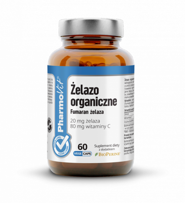 Żelazo organiczne - Fumaran żelaza 20 mg żelaza, 80 mg witaminy C - 60 kapsułek Vcaps® PharmoVit