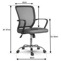 Fotel biurowy obrotowy z mikrosiatki Sofotel Diran szary
